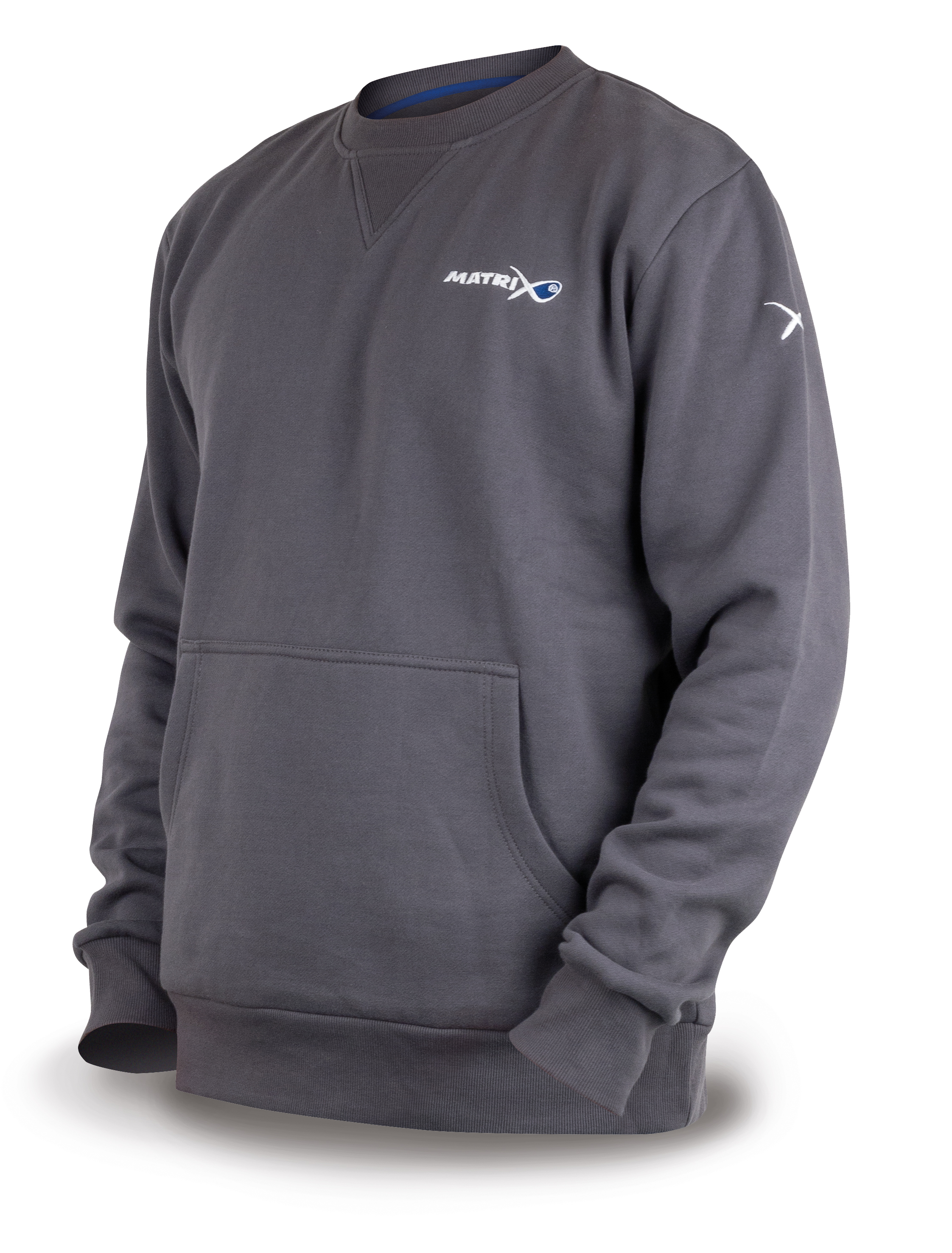 MATRIX GREY RIBBED CREW SWEATSHIRT